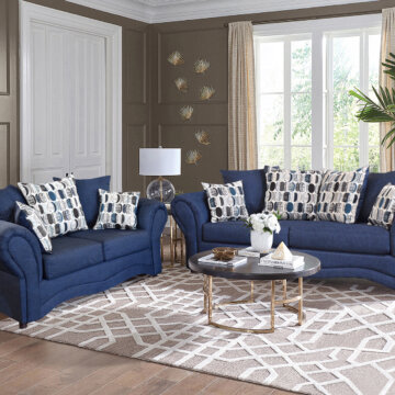 Oscar Navy Sofa and Loveseat
