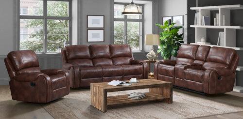 Garrison Cognac Reclining Sofa and Loveseat