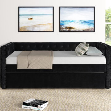 Black Tufted Trina Daybed with Trundle