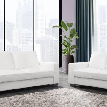 Dark White Sofa and Loveseat