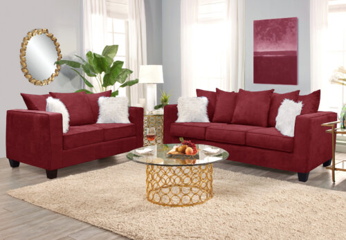 Artic Merlot Sofa and Loveseat