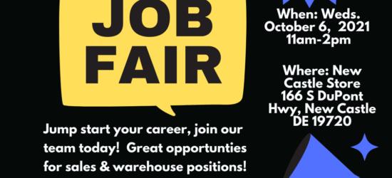 UFO Sales & Warehouse Job Fair October 4th @ New Castle Location